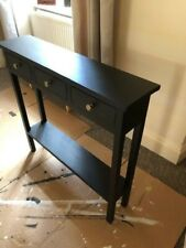 H80 W85 D35cm BESPOKE CONSOLE HALL TABLE 3 DRAWER BLACK SATIN