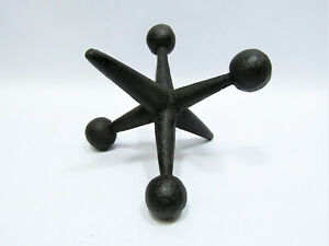 "Small Vtg-Look New Decorative 4"" Rustic Cast Iron Jack Paperweight Shelf Decor"