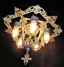 VTG DECO ERA VICTORIAN CAST METAL FLUSH MOUNT RIDDLE CHANDELIER CEILING FIXTURE