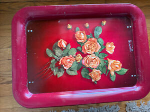 Vintage Metal TV Lap Bed Tray Folding Legs Floral Flowers Design