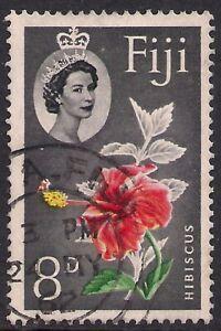 Fiji 1959 - 63 QE2 8d Hibiscus Flower used SG 304 ( R1248 )