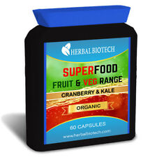 SuperFood Organic Cranberry & Kale Capsules Not Powder or Tablets Fruit & Veg