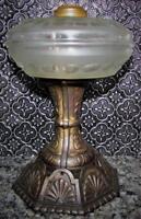 """RARE Antique Oil or Kerosene Stand """"Tube"""" Lamp Strange Design, 4 Part Cast Base"""