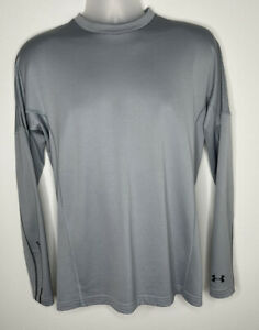Under Armour Cold Gear Golf Fitted Shirt Mens Large Gray Long Sleeve Stretch