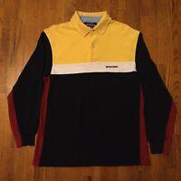 VTG 90s Tommy Hilfiger Long Sleeve Shirt Medium Color Block Spell Out Streetwear