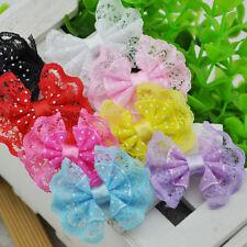 32PCS Ribbon Trim Bows Flowers W/ Rhinestone Appliques Wedding Decoration A88