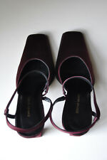 NEW FOSCO GOLD Burgundy Maroon Satin Sling-back Court Evening Shoes 39 UK 6