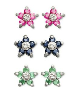 Victoria Townsend  sterling silver earring set Ruby,Sapphire,Emerald flower stud