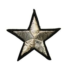 ID 3521 2IN Silver Star Black Border Iron On Applique Patch