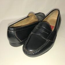 Cole Haan Men's 9.5D Black Leather Slip On Dress Penny Loafers Italy