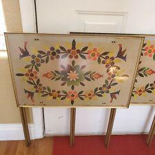 Vintage Mid Century Lavada Beige Gold TV Trays Set Of 4 Brass Flower Power