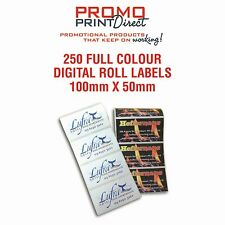 250 Custom 100x50mm Printed Roll Label Papers Stickers FREE Artwork