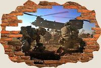 3D Hole in Wall Army Helicopter View Wall Stickers Film Mural Art Wallpaper 337