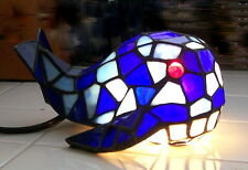 Stained Glass Whale Table Lamp Cobalt and Sky Blue with Ruby Red Glass Eyes