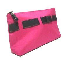Lancome Hot Pink W/ Black Ribbon Zippered Makeup Cosmetic Travel Bag NEW