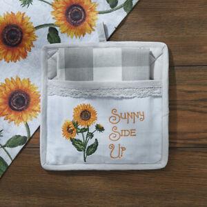 Sunny Side Up Embroidered Sunflower Cotton Quilted Potholder Towel Set