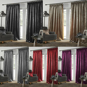 Ready Made Luxury Plush Crushed Velour Faux Velvet Lined Curtains + Tie Back New