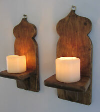 Pair 32cm Recycled Pallet Wood Moroccan Wall Sconce S Led Candle Holders