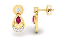 Pave 0,75 Cts Natürliche Diamanten Rubin Ohrstecker In Solides 14 Karat Gelbgold