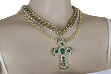 Set Pendant Bling Green Cross Religious Women Gold Metal Chain Fashion Necklace