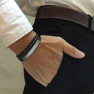 Lederarmband Herren Schwarz Edelstahl Männer Armband Silber Bracelet Leather