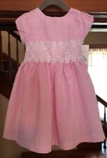 NWT Rare Editions Baby Girls Striped Seersucker PinK White Dress 3T/3