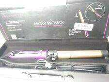 Argan Woman Curly Straight Digital 2-in-1 Rotating Curling & Flat Iron For Wom..