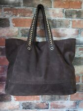 LARGE REAL SUEDE CHOCOLATE BROWN SHOPPER BUCKET SLOUCH SHOULDER BAG