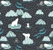 WALRUS & FRIENDS ON MIDNIGHT BY LEWIS & IRENE - COTTON FABRIC FQ