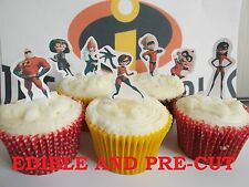 the incredibles X24 edible stand up cup cake toppers, wafer paper *pre-cut*
