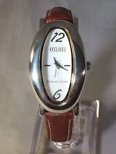 LADIES STERLING SILVER OVAL WATCH ECCLISSI BRAND WATCH MOTHER OF PEARL DIAL