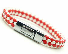 Men Women PU Leather And Brass Clasp Bracelet White And Red