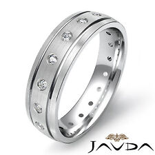 Fine Round Diamond Mens Eternity Wedding Dome Grooved Band 18k White Gold 0.35Ct