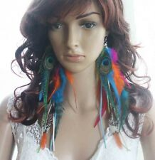 52a1-5 chain tassel peacock Natural colorful Feathers Earrings Jewelry lhf130726