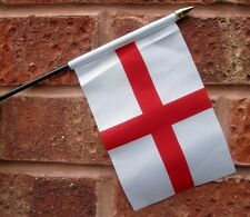 "ENGLAND ST GEORGE HAND WAVING FLAG small 6"" x 4"" with 10"" pole ENGLISH 3 LIONS"