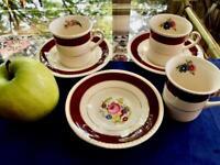 Set of 3 Fondeville Burgundy Gold Floral Demitasse Cup & Saucers Ambassador Ware