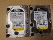 "Lot of 2 Western Digital 500GB Enterprise 3.5"" SATA Hard Disk Drives WD5002ABYS"