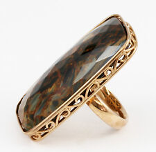 One of a Kind Rose Gold Plated Sterling Silver Pietersite Gemstone Ring Band
