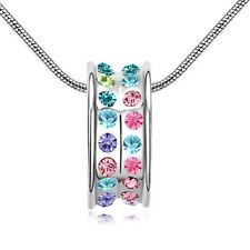 18K White Gold Plated Made with Swarovski Element Multicolor Round Ring Necklace