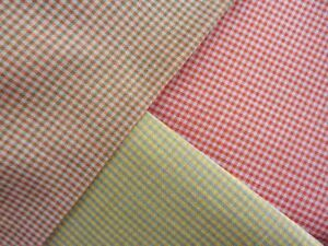 gingham summer light weight check clothing fabric VARIOUS red grey blue yellow