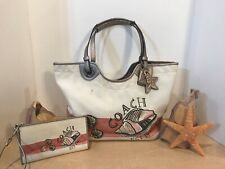 Coach White Pink Seashell Beach Tote Purse F19273 & Matching Wallet