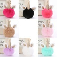 Fake Rabbit Fur Pompom Ball Keyring Fluffy Unicorn Key Chain Purse Handbag mie