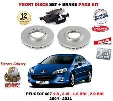 FOR PEUGEOT 1.8 2.0 1.6 HDI 407 2004-2011 FRONT BRAKE DISCS SET + DISC PADS KIT