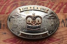 Vtg Comstock German Silver Western Cowgirl Trophy Belt Buckle Crown Queen June
