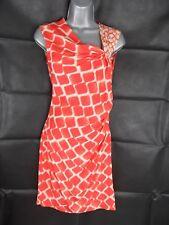 Kenneth Cole Silk Dress, Size US 0, UK 4, Orange Giraffe Print, Midi Length