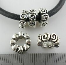 8pcs Tibetan Silver Big Hole Spiral Spacer Beads Crafts Jewelry Beading 4x10mm