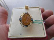 anello BORBONICO autentico in oro  smalti e 4 piccoli turchesi +cammeo inciso.