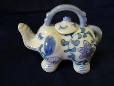 BLUE/WHITE CERAMIC TEA POT-ELEPHANT SHAPED-W. LID-