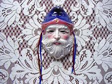 CLAY ART MERLIN WiZaRD w/Purple MooN & STaR Hat WaLL Hanging Mask SCuLPTuRe