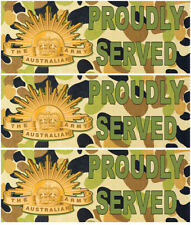 AUSTRALIAN ARMY STICKER PROUDLY SERVED STICKER ARMED FORCES STICKER SET OF 3